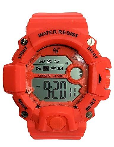 Reloj Digital de Hombre con diseño Deportivo, acuático de Uso Diario, multifunción con cronometro Alarma y Fecha. (Naranja Coral): Amazon.es: Relojes