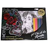 Day of the Dead Adult Coloring Art Set with 24 posters and 12 colored pencils, Dia de los Muertos