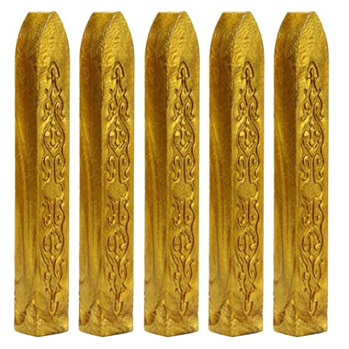- Gbell 5Pcs Manuscript Sealing Seal Wax Sticks Wicks for Postage Letter,Retro Vintage Wax Seal Stamp (Gold)