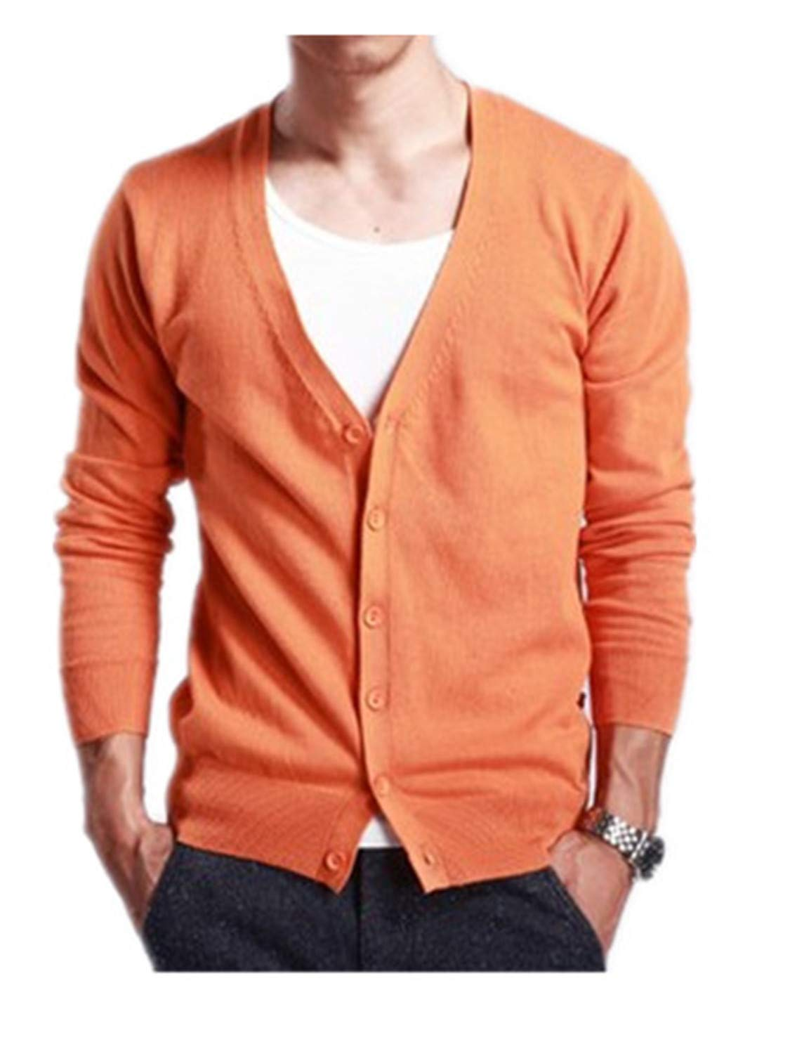 Orcan Bluce Spring and Autumn Men's V-Neck Cardigan Sweater Slim Sweater Thin Orange M