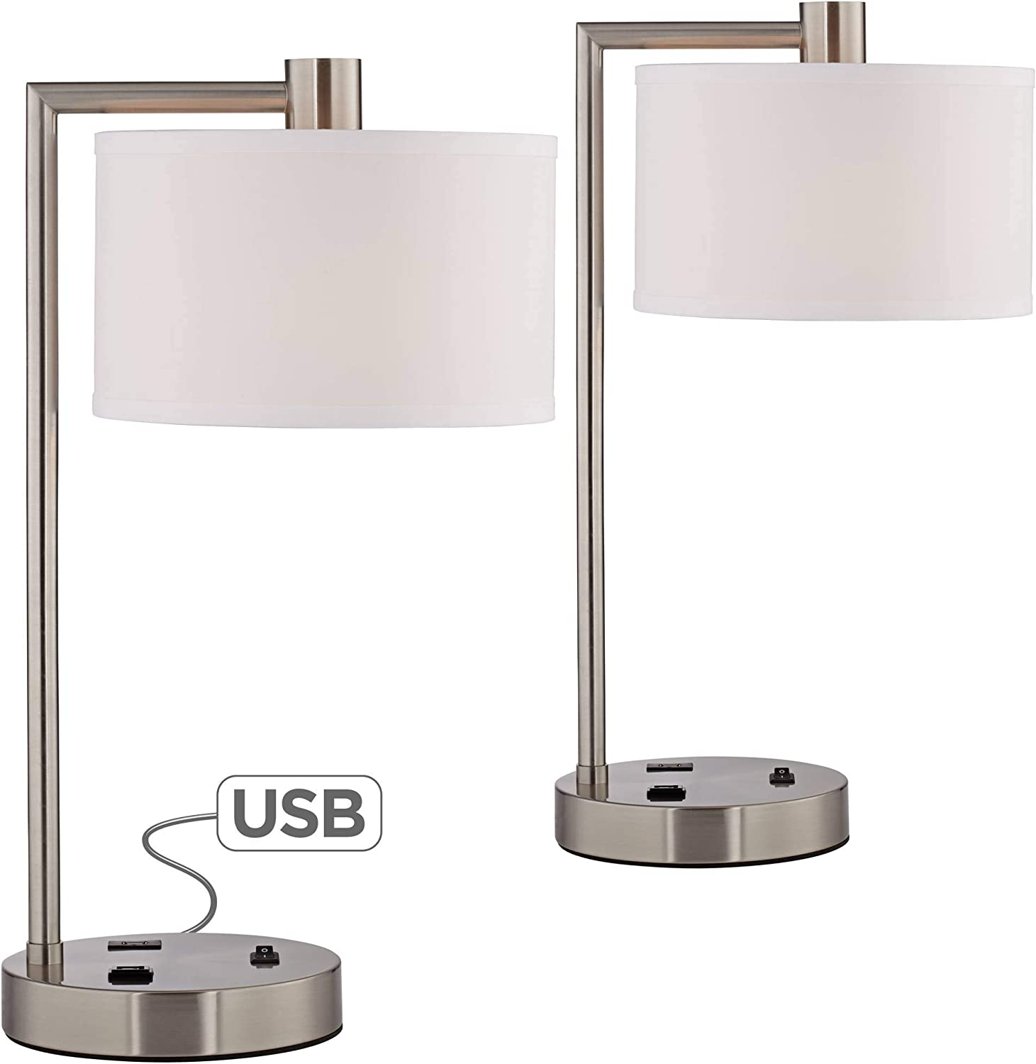 Colby Modern Desk Table Lamps Set of 2 with Hotel Style USB and AC Power Outlet in Base Brushed Nickel White Linen Shade for Office - 360 Lighting