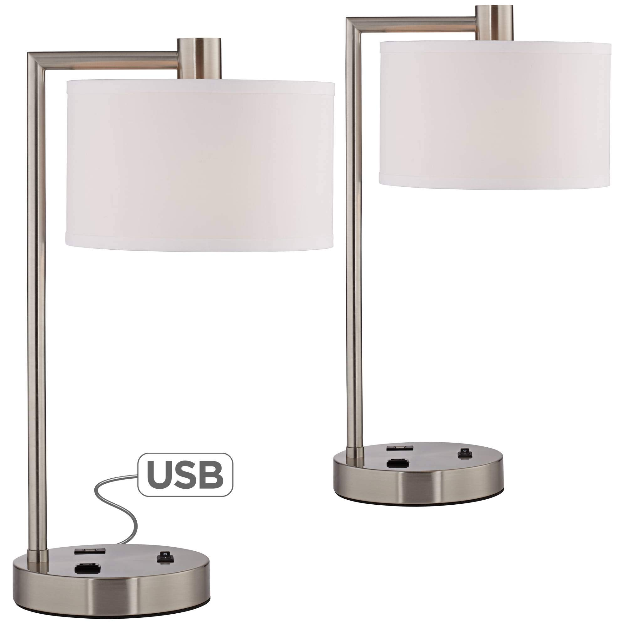 Colby Modern Desk Table Lamps Set of 2 with Hotel Style USB and AC Power Outlet in Base Brushed Nickel White Linen Shade for Office - 360 Lighting by 360 Lighting