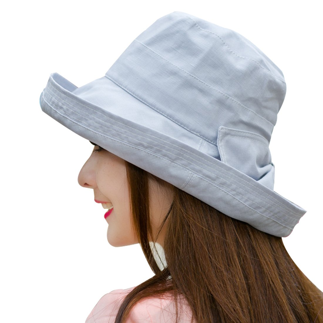 Kafeimali Women's Summer Sun Cotton Bucket Hat Wide Brim UV Protection Beach Caps XXMZ9