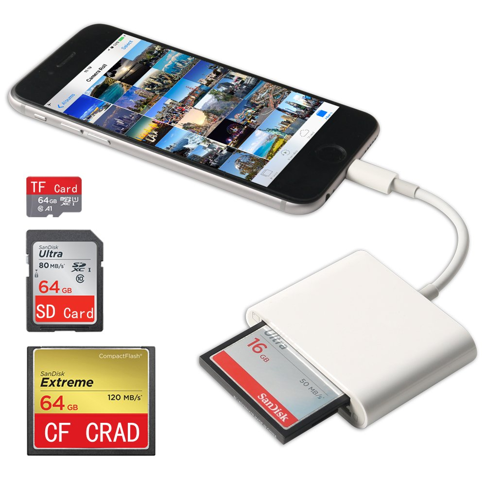 CF Card Reader for iPhone/iPad/iPad pro,Lightning to SD/TF/CF Card Camera Reader,Trail Game Camera Viewer for iPhone X/8 Plus/8/7 Plus/7/6s Plus/6s/6 Plus/iPad Mini/Air, No App Required