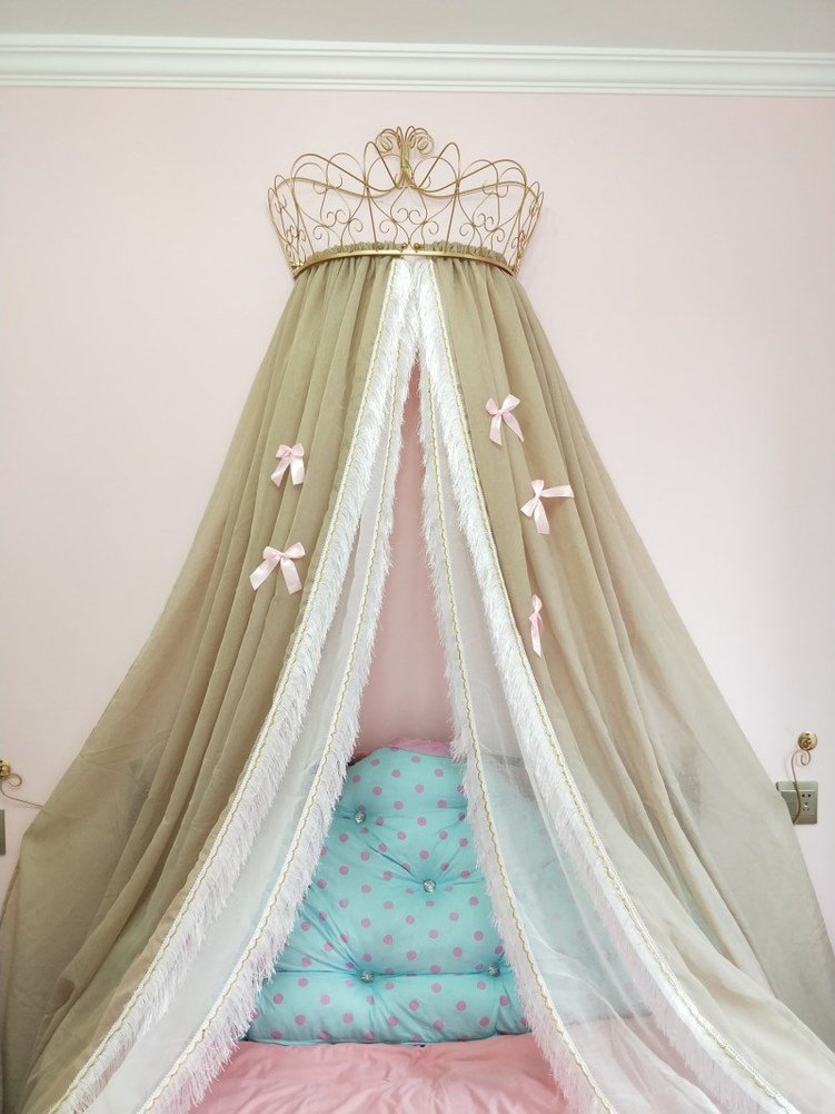 Fringe mosquito net, Princess beding double european butterfly imitation linen bedding crown mosquito netting-Coffee color