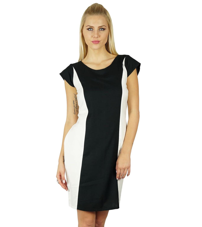 Bimba Frauen Schwarzweiß, figurbetontes Kleid knielangen Kleid Rayon