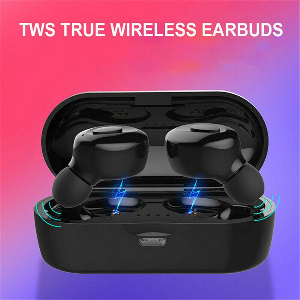 ouhoe Mini Bluetooth 5.0 Earbuds Twins Wireless Headset Sport Stereo in-Ear Headphones with USB Charging Socket (2 Earbud+Charging Box)