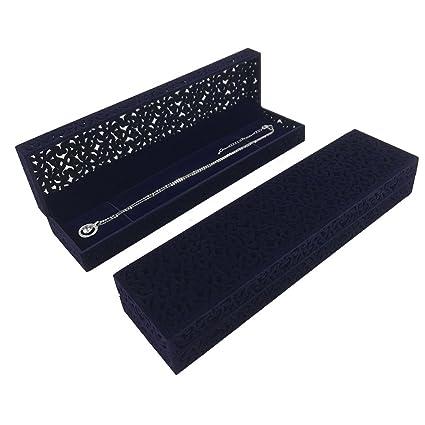 Amazoncom Hollow Sapphire Blue Velvet Necklace Box Long Chain