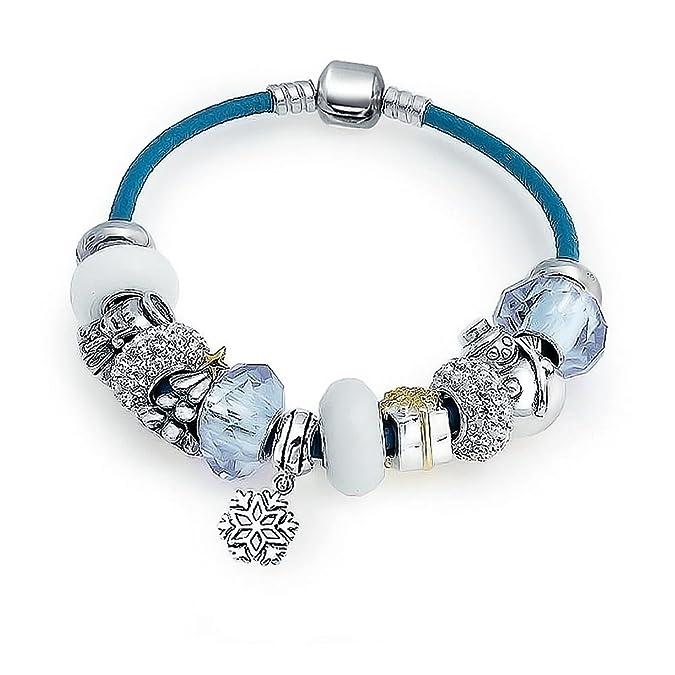 b4a71a1cc Amazon.com: 925 Silver White Christmas Leather Enamel Crystal Bead Charm  Bracelet: Bead Charms: Jewelry