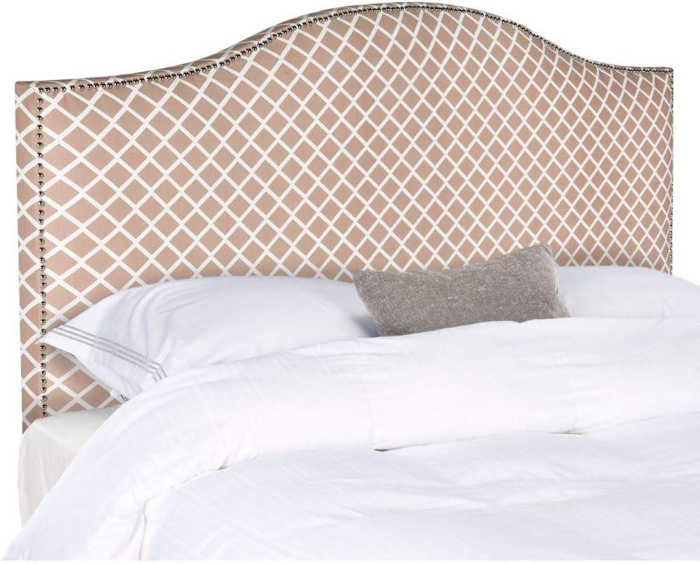 Safavieh Connie Peach Pink/ White Camelback Upholstered Headboard - Silver Nailhead (King)