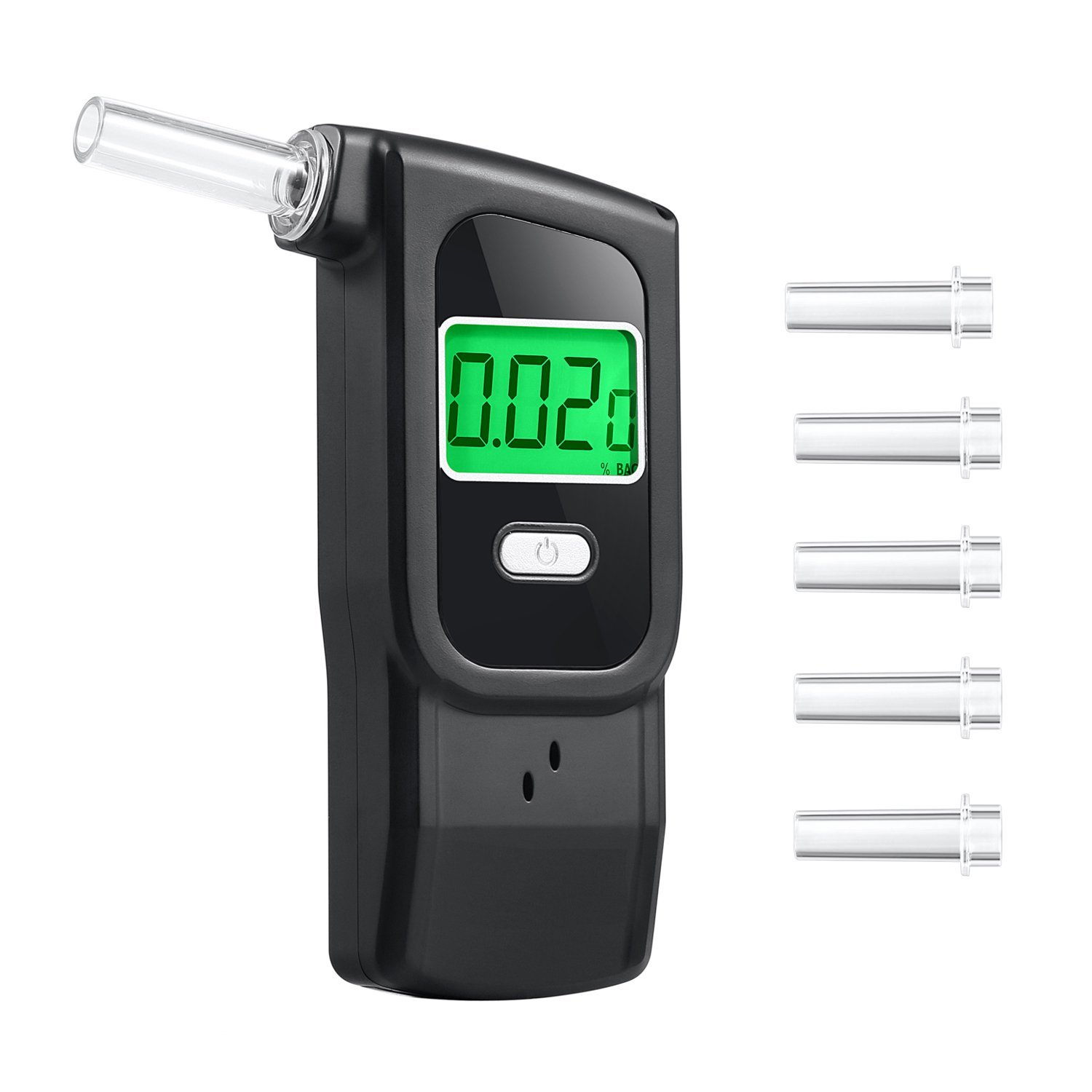 Breathalyzer Anntoo Professional Grade Portable Digital Alcohol Tester with 5 Mouthpieces for Personal Use - Black