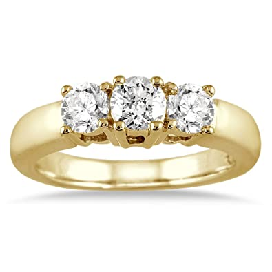 Amazon 1 Carat TW Three Stone Diamond Ring in 10K Yellow Gold