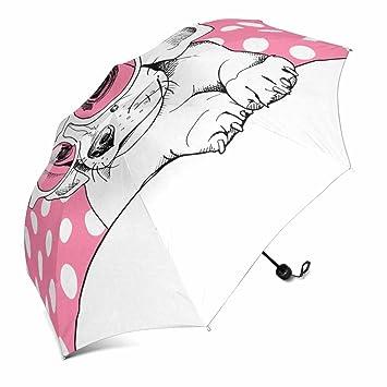 InterestPrint - Paraguas de Viaje para Halloween con una Luna Completa, Plegable y Compacto,