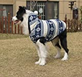 Dog Fleece Coat Cold Weather Dog Vest Snowflakes pile Hoodie for Large Dogs Pet Costume With Elk Printing Good Keep Warm Jackets and Gifts for Labrador Golden retriever Border (24 (Back 22.6″), Blue) Review