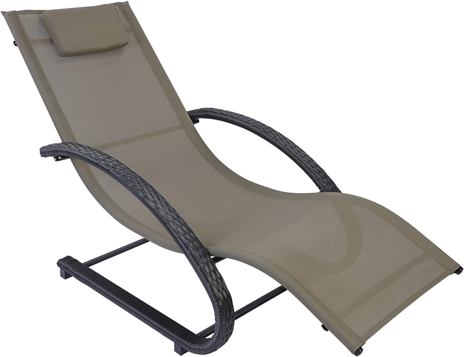 AGESISI Outdoor Patio Lounge Chair Reclining Chair Textilene Mesh Chaise with Hand-Woven Wicker Rattan Armrest and Pillow for Beach Yard Pool Garden Balcony, Tan