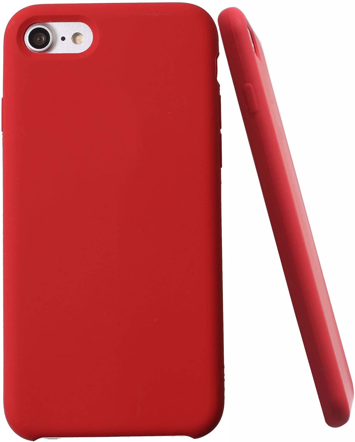 Soft Liquid Silicone iPhone 8 Plus Cover Case Inner Soft Microfiber Cloth Lining Cushion for iPhone 7 Plus/for iPhone 8 Plus (Red)