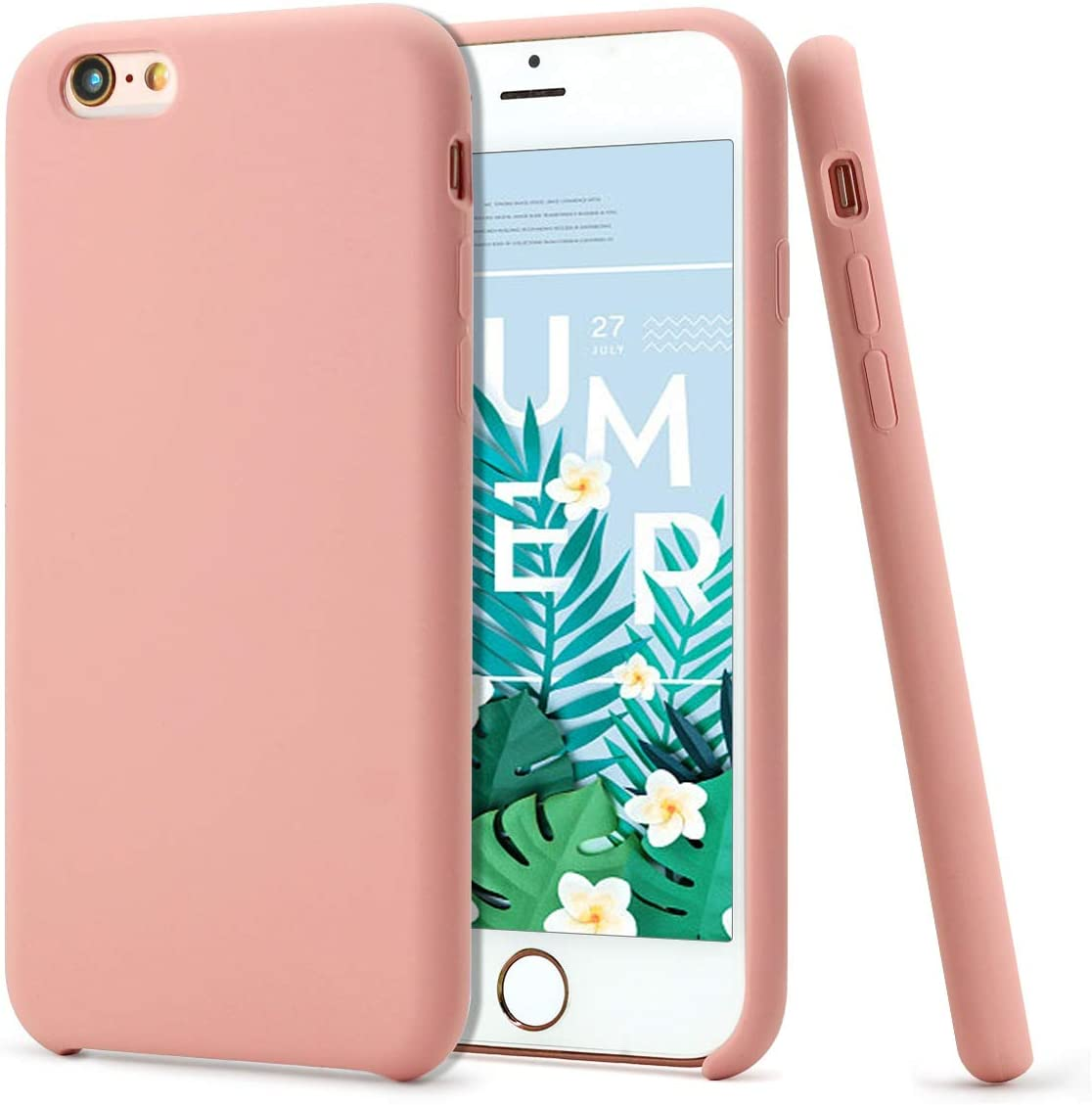 MUNDULEA Compatible iPhone 6/iPhone 6s Case,Liquid Silicone Rubber Soft Microfiber Protective Cover Compatible iPhone 6/ 6s (Pink)