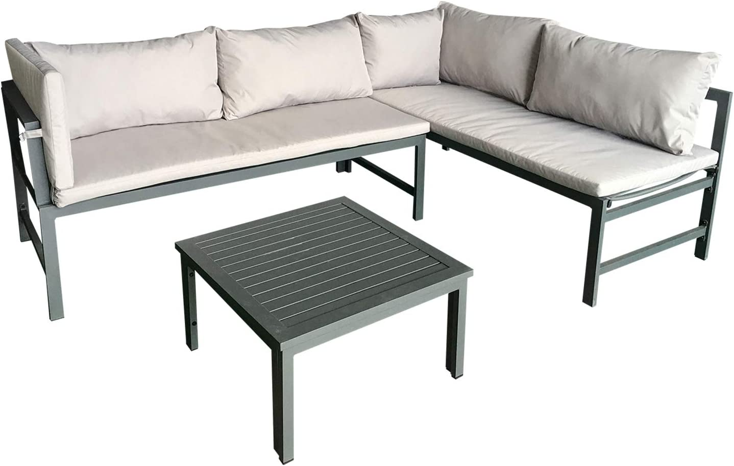 AmazonBasics Aluminum Outdoor L-Shaped Sofa Lounge Set with Cushions and Table - Grey