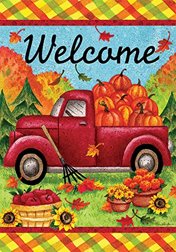 Fall Truck Welcome - STANDARD Size, 28 Inch X 40 Inch, Decorative Double Sided Flag Printed in USA - Copyright and Licensed, Trademarked by Custom Dcor Inc.