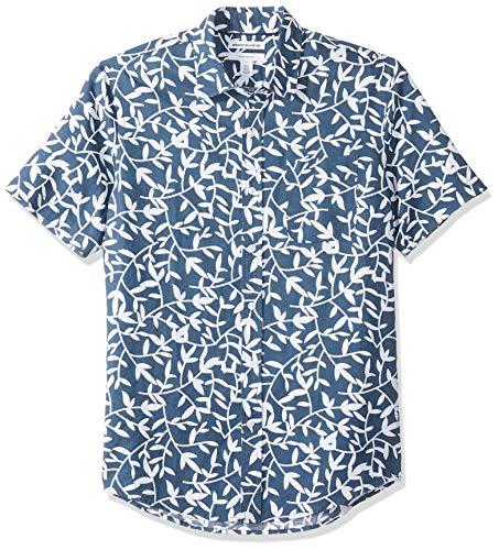 Amazon Essentials Men's Slim-Fit Short-Sleeve Print Linen Shirt, Navy Leaf, X-Small ()