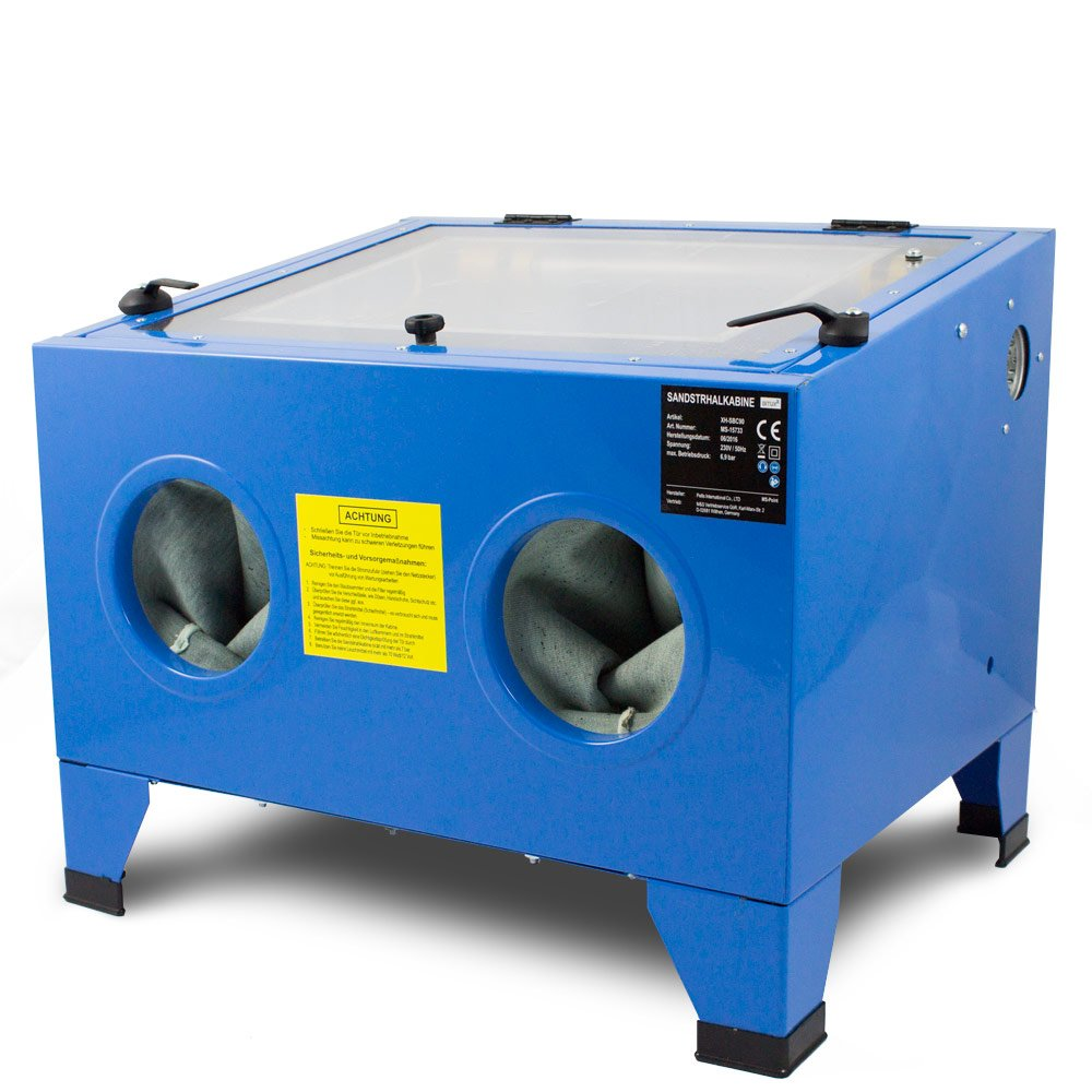 BITUXX® Sandstrahlkabine 90 L Liter Sandstrahlen Industrie Tisch Sandstrahlgerät MS-Point