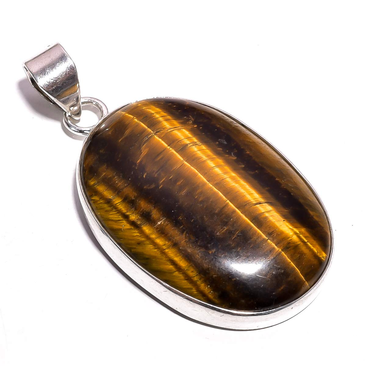 Mughal Gems /& Jewellery 925 Sterling Silver Pendant Natural Tiger Eye Oval Gemstone Ethnic Style Handmade Jewelry for Women /& Girls Pendant 1.9 ZP-24