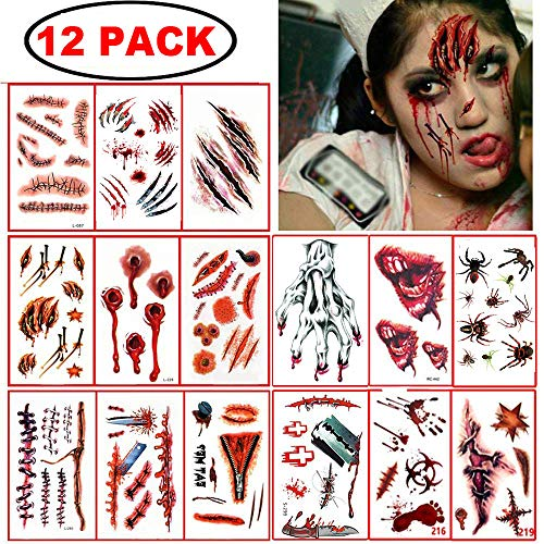 12 Sheet Halloween Temporary Tattoos Scar Fake Wound Blood Bleeding Spider Tattoo Stickers for Halloween Party Zombies CosPlay Costume (12sheet tattoos)