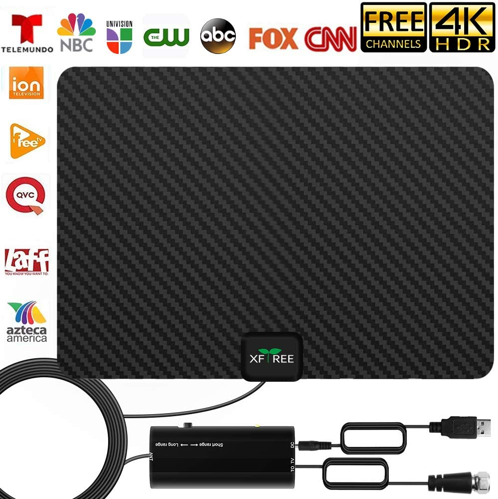2020 TV Antenna, Indoor Amplified HD Digital HDTV Antenna 200 Miles Range - Support 4K 1080p All Television with Indoor Powerful Amplifier Signal Booster for 4K Free Local Channels -17ft Coax Cable