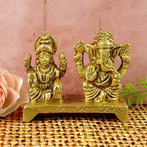 Reiki Crystal Products Brass Laxmi Ganesh Idol for Home Puja | Laxmi Ganesha Statue | for Home Décor, Diwali Gifting…