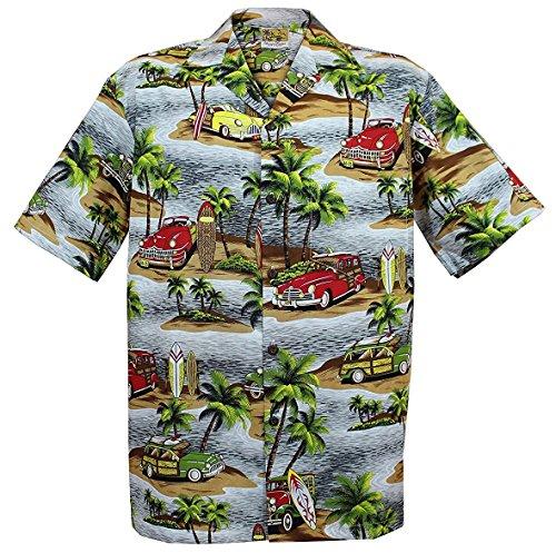 aee05745 WinnieFashion [Woody Island] Aloha Shirt in (100% Cotton) [ Gray XXL