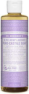 product image for Dr. Bronner's - Pure-Castile Liquid Soap (Lavender, 8 ounce) - Made with Organic Oils, 18-in-1 Uses: Face, Body, Hair, Laundry, Pets and Dishes, Concentrated, Vegan, Non-GMO