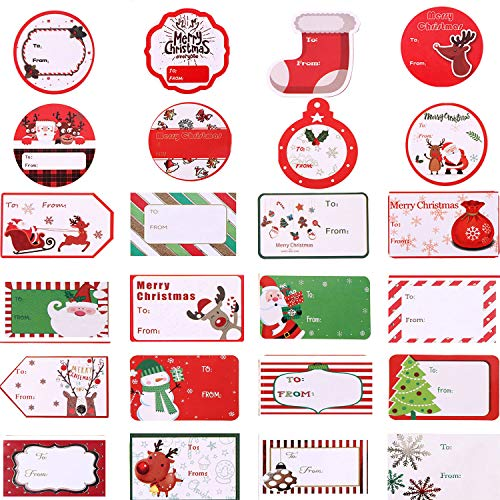 Jovitec 320 Pieces 80 Styles Christmas Gift Tags Self-Adhesive Wrapping Stickers Santa Snowmen Xmas Tree Deer Labels for Christmas Party Holiday Decorations