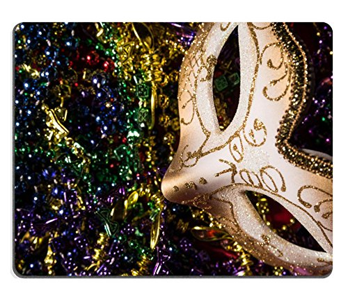 Luxlady Mouse Pad Natural Rubber Mousepad IMAGE ID: 26111871 Colorful Mardi Gras Mask with beaded (Carnavale Costumes)