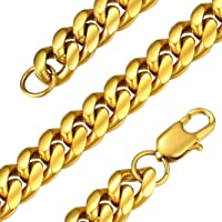 GoldChic Jewelry 6mm/10mm/14mm Wide Miami Cuban Chain for Men Women, Sprayed Protective Lacquer Than Other Chains…