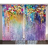 Ambesonne Watercolor Flower Home Decor Curtains, Abstract Herbs Weeds Blossoms Ivy Back with Florets Shrubs Design, Living Room Bedroom Window Drapes 2 Panel Set, 108 W X 84 L Inches, Multi