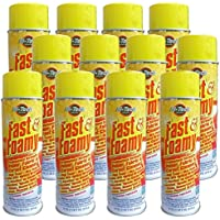 Fast & Foamy Carpet, Upholstery, Fabric, Velour Cleaner - Case of 12 (VOC Compliant 18oz Aerosol Can) by Hi-Tech