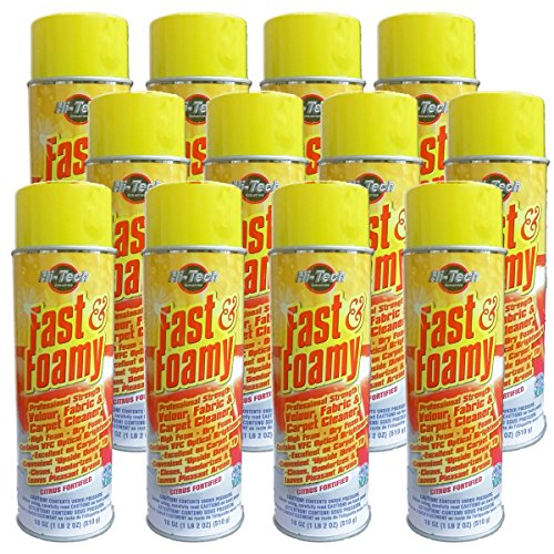 (Fast & Foamy Carpet, Upholstery, Fabric, Velour Cleaner - Case of 12 (VOC Compliant 18oz Aerosol Can) by Hi-Tech)