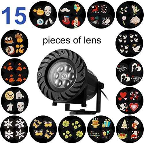 LED Projector Light with 15 Switchable Patterns/Slides,Waterproof Landscape with RF Remote Control, Outdoor/Indoor for Halloween, Christmas, Holiday, Party, Garden Decoration