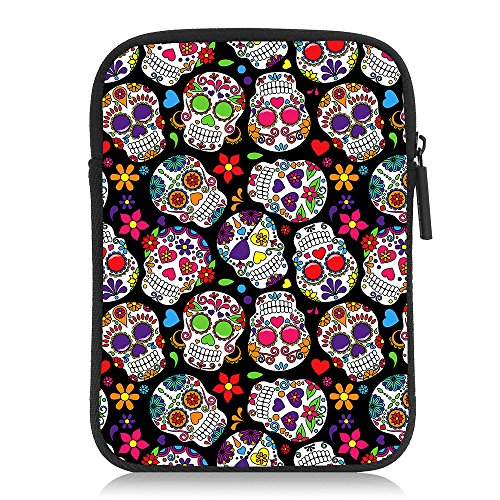 TOLLYEE Kindle (6 Inch) Sleeve,Sugar Skull Pattern Neoprene Cases Covers Bags for Amazon Kindle Paperwhite / Kindle Voyage / Kindle 8th Generation(2016) / Kindle Oasis E-Reader