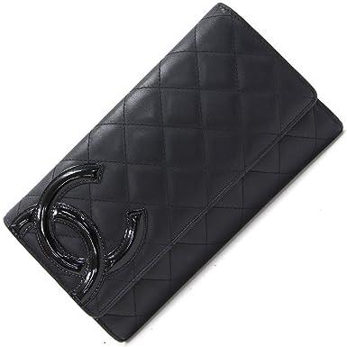 0853548dcafe CHANEL(シャネル) 三つ折り長財布 カンボン A46645 ブラック ピンク カーフスキン 中古 黒