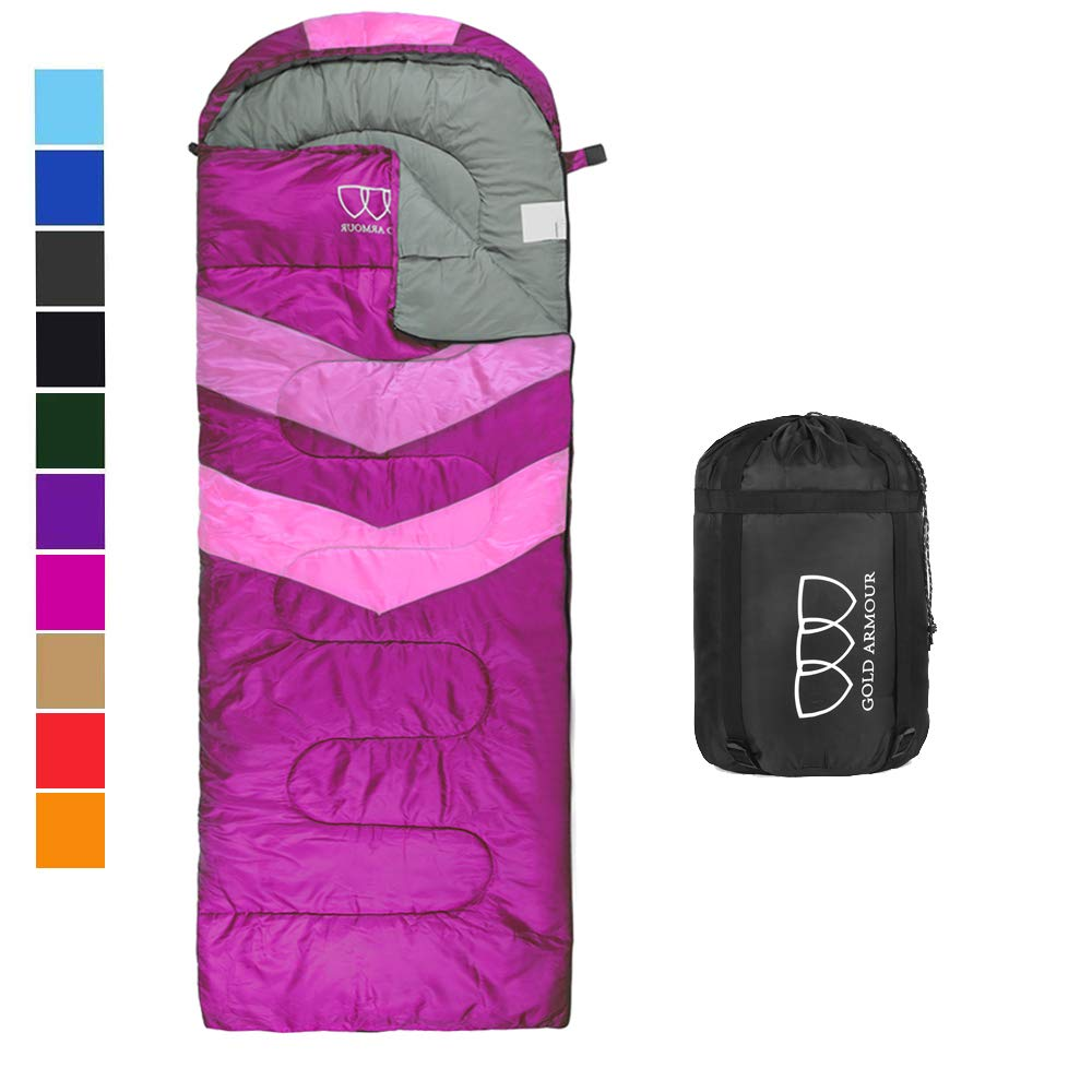 Sleeping Bag - Sleeping Bag for Indoor & Outdoor Use - Great for Kids, Boys, Girls, Teens & Adults. Ultralight and Compact Bags for Sleepover, Backpacking & Camping (Fuchsia / Pink Left Zipper) by Gold Armour