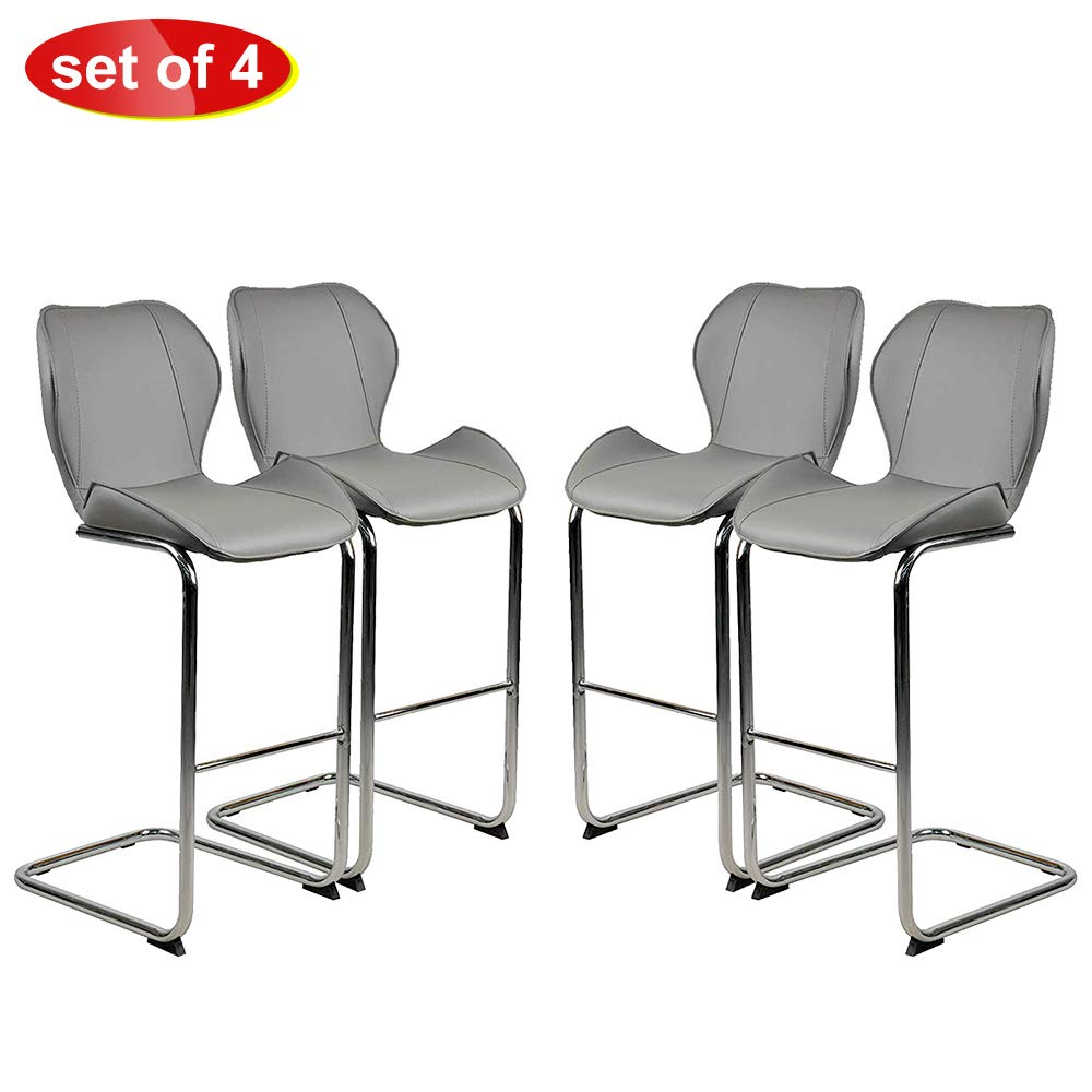 MOOSENG, Barstools Set of 4, with Metal Legs Low Back Counter Height Stool, Perfect for Kitchen Dining Side Bar Indoor Outdoor Occasions, Grey-4Pack