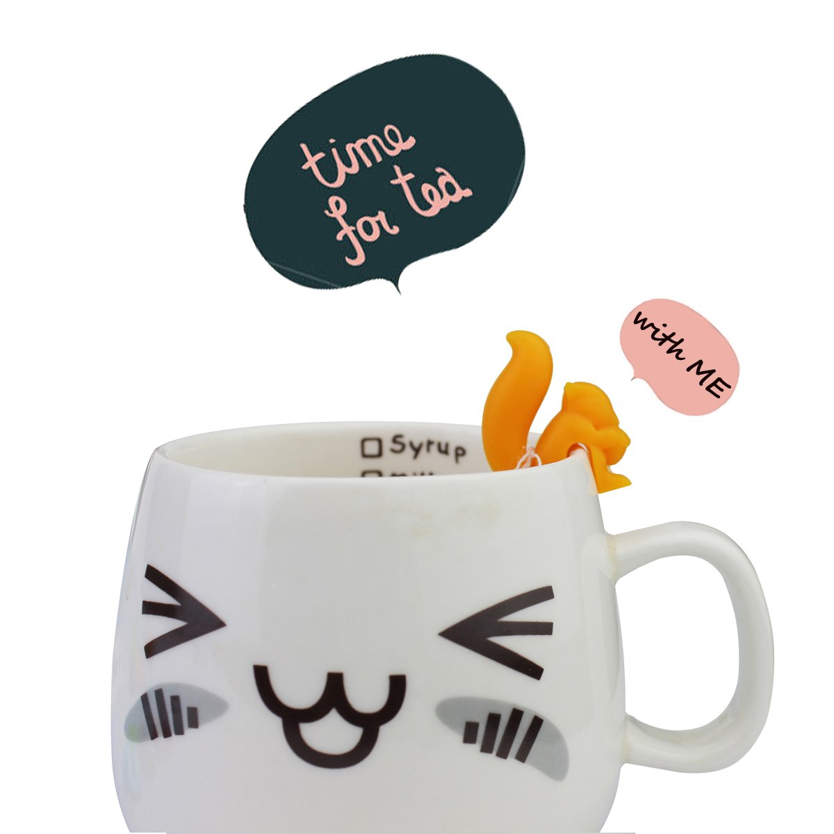 Tea Bag Holder 15 PCS Tea Bag Hangers Cute Drink Markers Squirrel Shaped Glass Charm Silicone Identifier for Cups and Mugs Novelty Bank