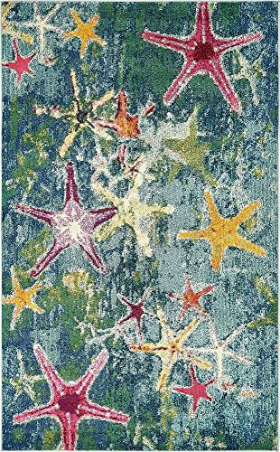 Unique Loom Positano Collection Coastal Modern Bright Colors Starfish Navy Blue Area Rug (5' x 8') ()