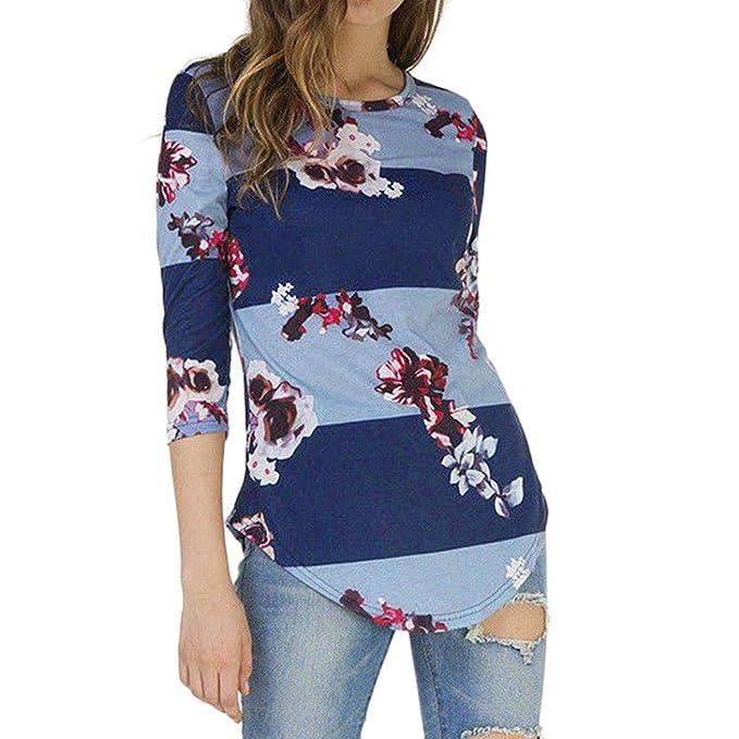 Bestow Camiseta de Manga Larga para Mujer con Cuello Redondo y Estampado de Manga Larga Blusa de Invierno: Amazon.es: Ropa y accesorios