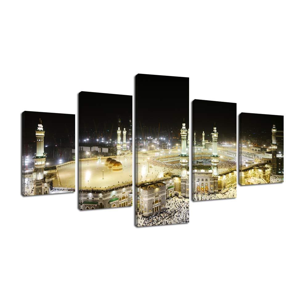 Fajerminart 5 Panels Islamische Leinwand Wand Kunstdrucke Von Muslim Hajj Pilgerfahrt Nach Kabba in Mekka Bei Nacht, Wohnzimmer Dekoration Gesamtgröße70x125cm(40x25cmx2+55x25cmx2+70x25cm)(Holzrahmen)
