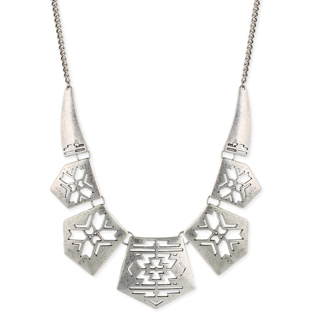 Zad Jewelry ZAD Silver-Plated Antiqued Southwest Style Cutout Bib Collar Necklace, 16'' - 18''