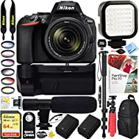 Nikon D5600 24.2 MP DX-Format DSLR Camera + AF-S 18-140mm f/3.5-5.6G ED VR Lens & 64GB Battery Grip & Shotgun Mic Pro Video Bundle