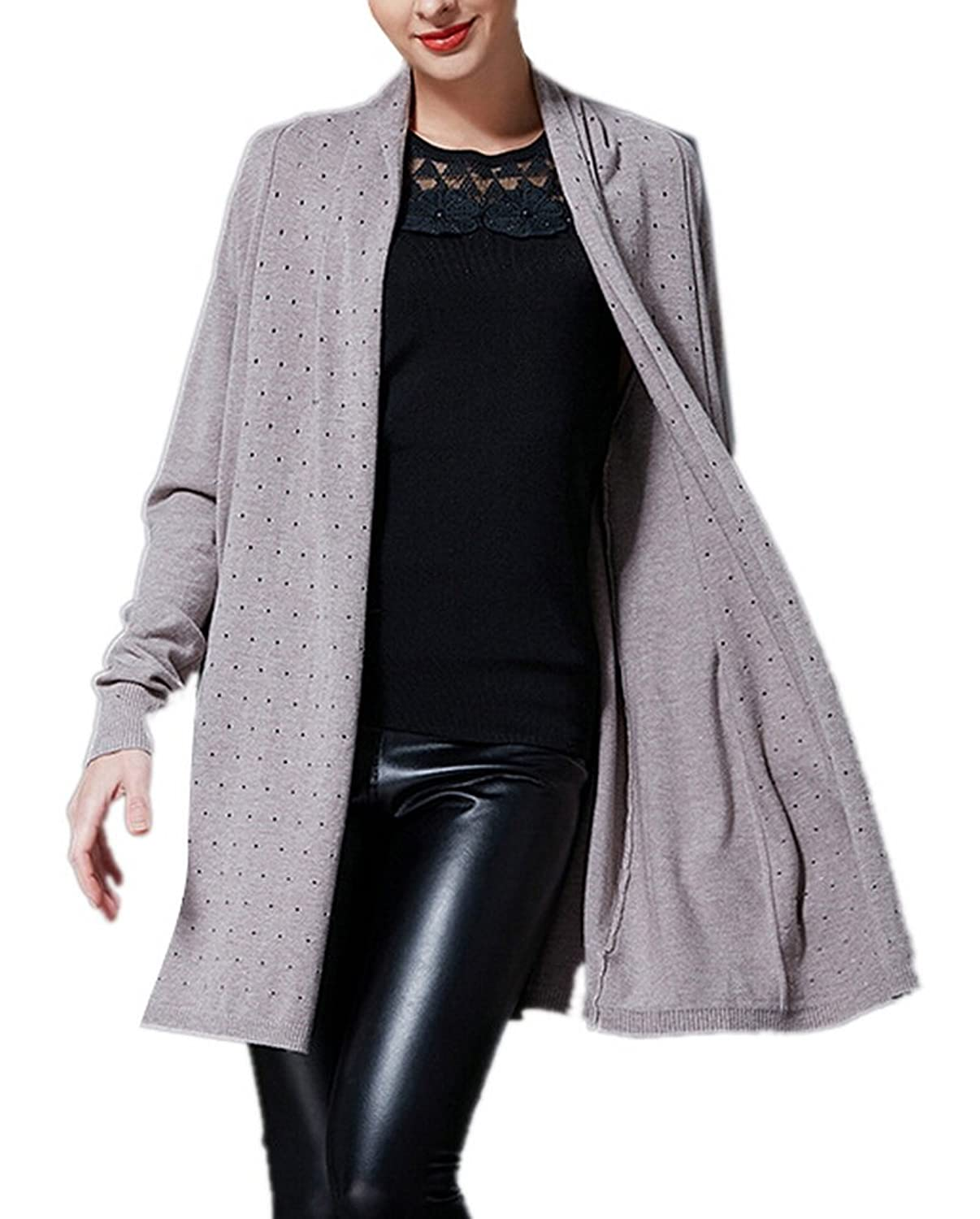 AZIZY Womens Hollow Out Long Sleeve Open Front Lightweight Long Cardigan Sweater