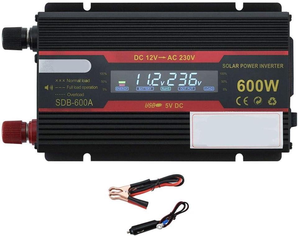 JYL 350W de energía de Coche Inversor de la CC 12V a 230V AC 240V convertidor con el Cargador del Encendedor del Coche de Adapte, enchufes universales y Puerto USB-600W de Potencia máxima,12V